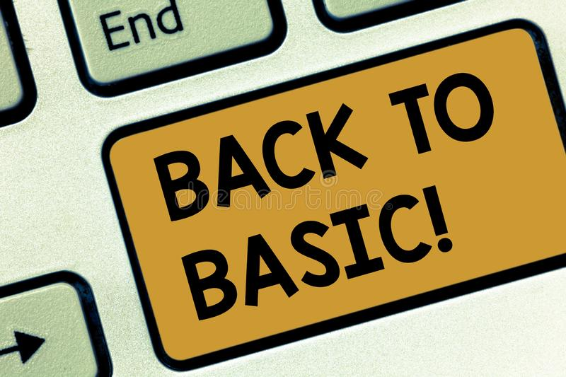Text sign showing Back To Basic. Conceptual photo Return simple things Fundamental Essential Primary basis Keyboard key. Intention to create computer message royalty free stock images