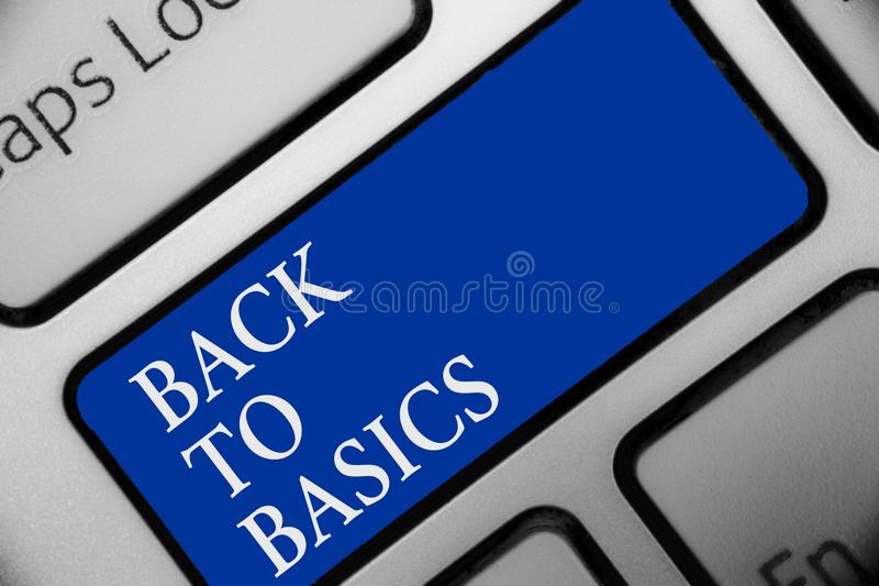 Text sign showing Back To Basics. Conceptual photo Return simple things Fundamental Essential Primary basis Keyboard blue key Inte. Ntion create computer stock photo