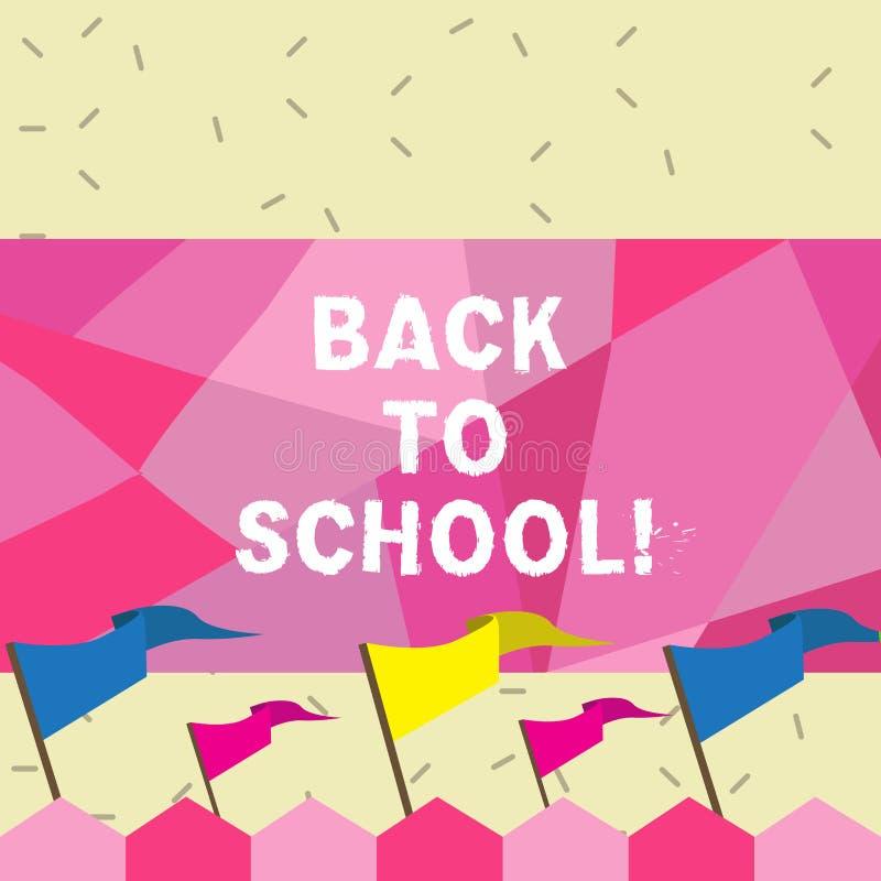 Text sign showing Back To School. Conceptual photo New Teachers Friends Books Uniforms Promotion Tuition Fee. Text sign showing Back To School. Conceptual photo vector illustration