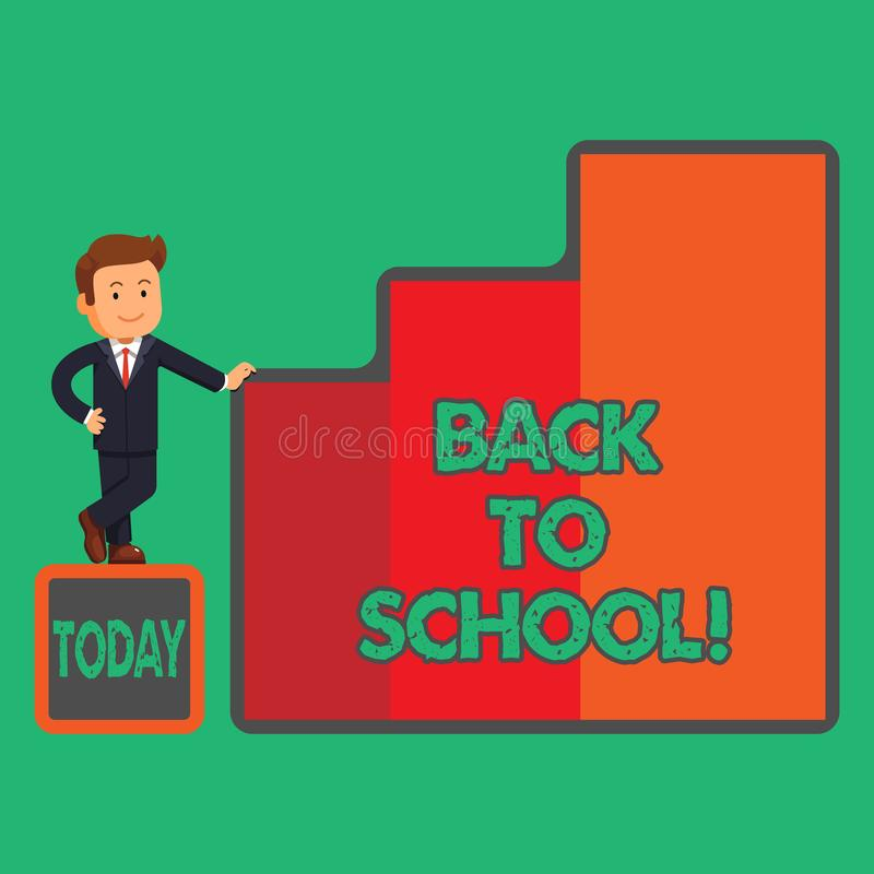 Text sign showing Back To School. Conceptual photo New Teachers Friends Books Uniforms Promotion Tuition Fee. Text sign showing Back To School. Conceptual photo royalty free illustration