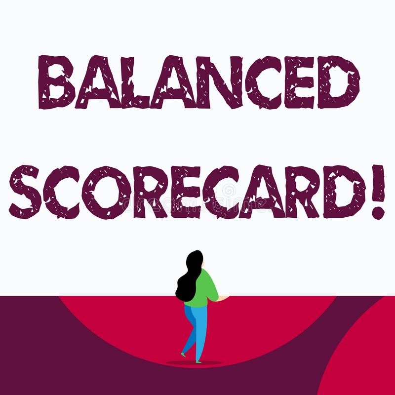 Text sign showing Balanced Scorecard. Conceptual photo a perforanalysisce metric used in strategic analysisagement. Text sign showing Balanced Scorecard vector illustration