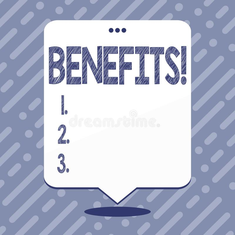 Text sign showing Benefits. Conceptual photo Advantage Insurance Compensation Interest Revenue Gain Aid. Text sign showing Benefits. Business photo showcasing vector illustration