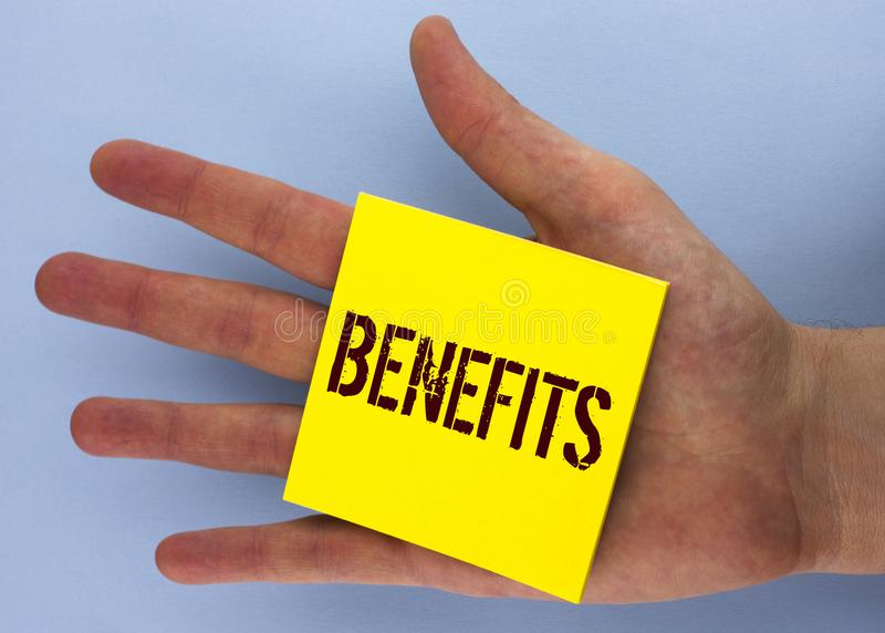 Text sign showing Benefits. Conceptual photo hike in allowance for senior employees of the company written on Yellow Sticky Note P. Text sign showing Benefits stock photos