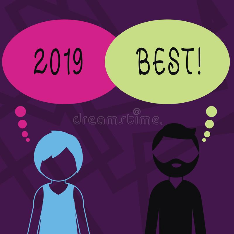 Text sign showing 2019 Best. Conceptual photo that which most excellent outstanding or desirable this year Bearded Man. Text sign showing 2019 Best. Business stock illustration
