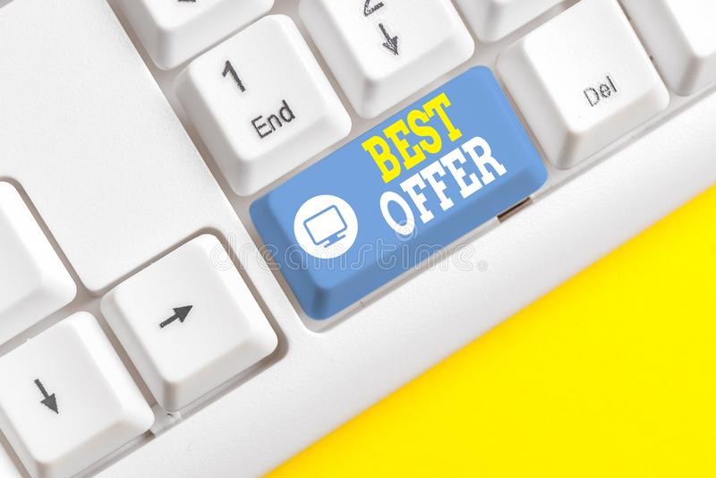 Text sign showing Best Offer. Conceptual photo To convince someone by rendering all the greatness you can give White pc. Text sign showing Best Offer. Business royalty free stock image
