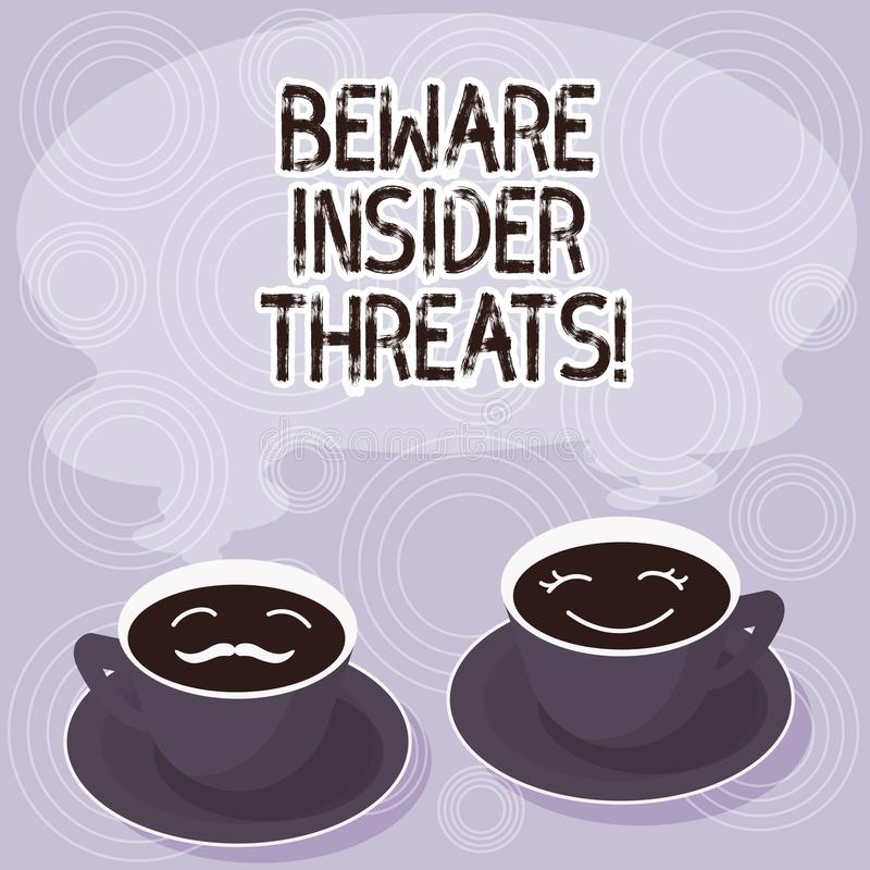 Text sign showing Beware Insider Threats. Conceptual photo Be cautious on malicious attack inside the network Sets of. Cup Saucer for His and Hers Coffee Face royalty free illustration