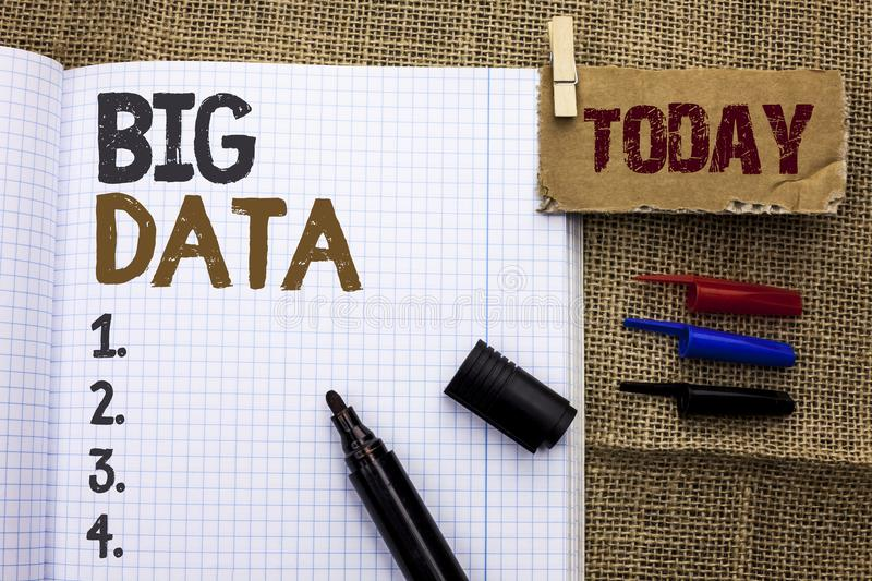 Text sign showing Big Data. Conceptual photo Huge Data Information Technology Cyberspace Bigdata Database Storage written on Noteb royalty free stock image