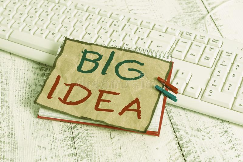 Text sign showing Big Idea. Conceptual photo Having great creative innovation solution or way of thinking notebook paper. Text sign showing Big Idea. Business stock image