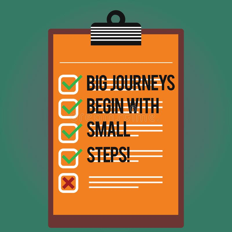 Text sign showing Big Journeys Begin With Small Steps. Conceptual photo One step at a time to reach your goals Lined. Color Vertical Clipboard with Check Box vector illustration