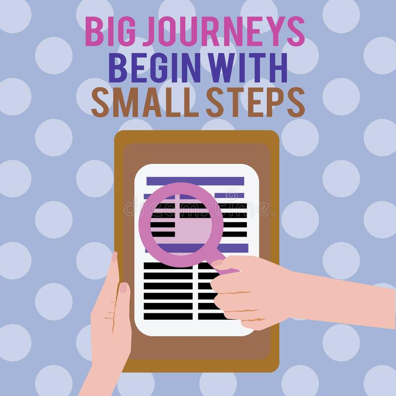 Text sign showing Big Journeys Begin With Small Steps. Conceptual photo Start up a new business venture.  stock illustration