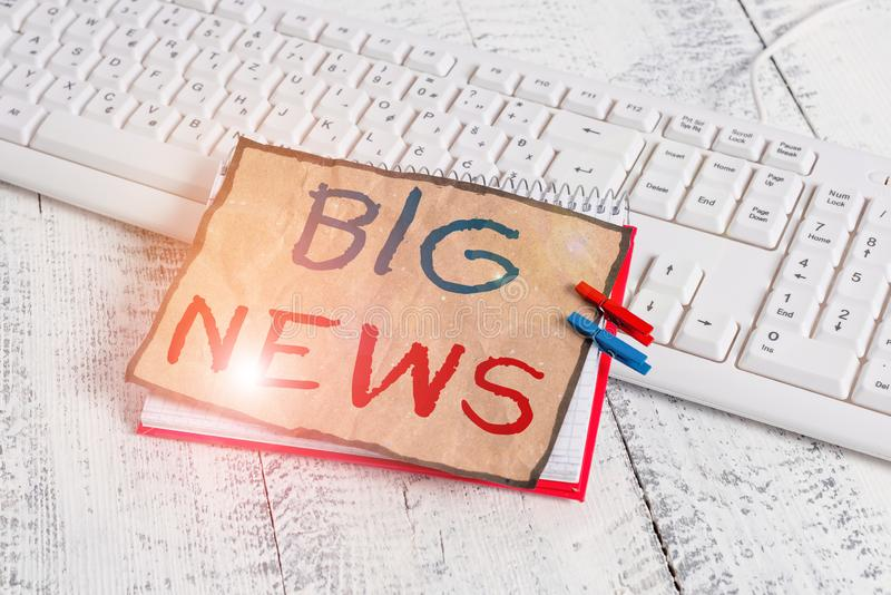 Text sign showing Big News. Conceptual photo knowing actions no one heard about it yet Teleporter journalist notebook. Text sign showing Big News. Business photo royalty free stock image