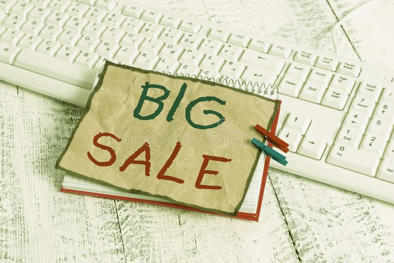 Text sign showing Big Sale. Conceptual photo putting products on high discount Great price Black Friday notebook paper. Text sign showing Big Sale. Business royalty free stock image