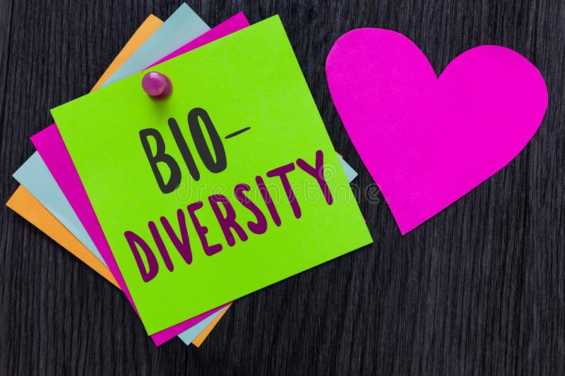 Text sign showing Bio Diversity. Conceptual photo Variety of Life Organisms Marine Fauna Ecosystem Habitat Papers Romantic lovely. Message Heart Good feelings stock image