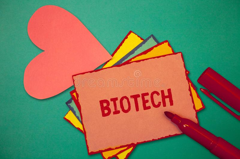 Text sign showing Biotech. Conceptual photo Study Analysis biological processes Genetic manipulation Science.  royalty free stock photography
