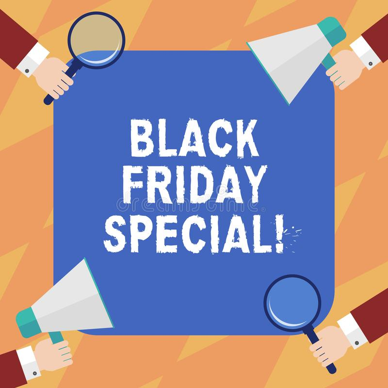Text sign showing Black Friday Special. Conceptual photo The day after thanksgiving Crazy Sale Shopping season Hu royalty free illustration