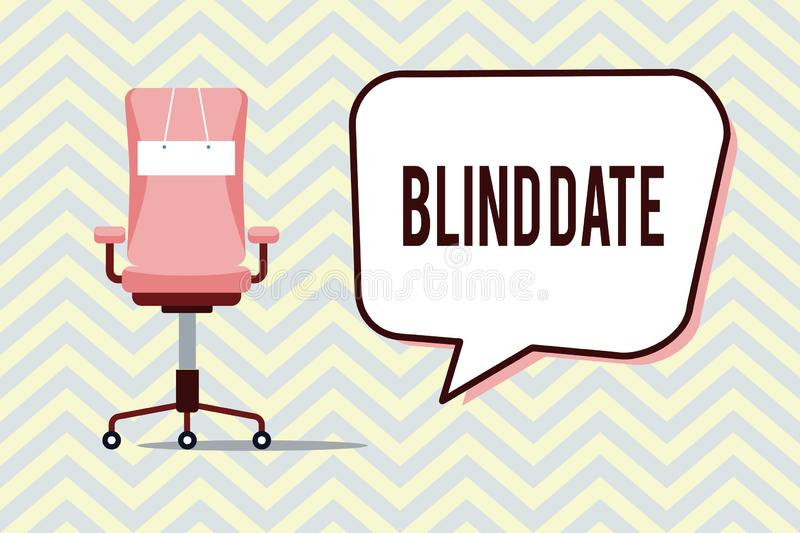 Text sign showing Blind Date. Conceptual photo Social engagement with a demonstrating one has not previously met.  vector illustration