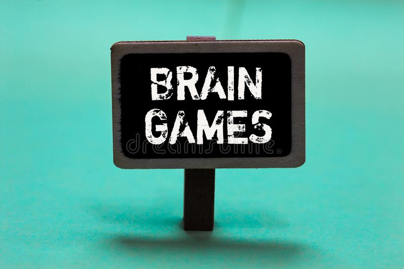 Text sign showing Brain Games. Conceptual photo psychological tactic to manipulate or intimidate with opponent Blackboard green ba. Ckground important message royalty free stock photography