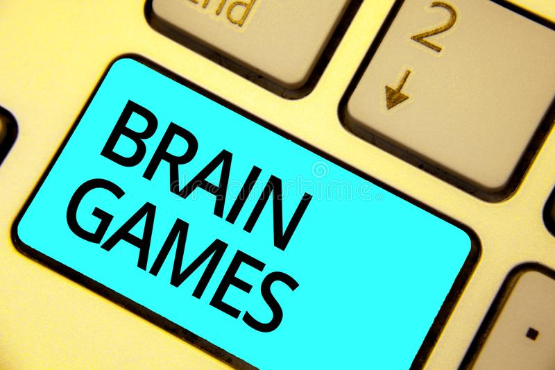 Text sign showing Brain Games. Conceptual photo psychological tactic to manipulate or intimidate with opponent Keyboard blue key I. Ntention create computer royalty free stock photos