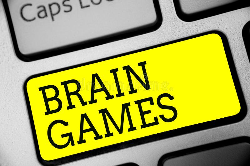 Text sign showing Brain Games. Conceptual photo psychological tactic to manipulate or intimidate with opponent Keyboard yellow key. Intention create computer royalty free stock photo