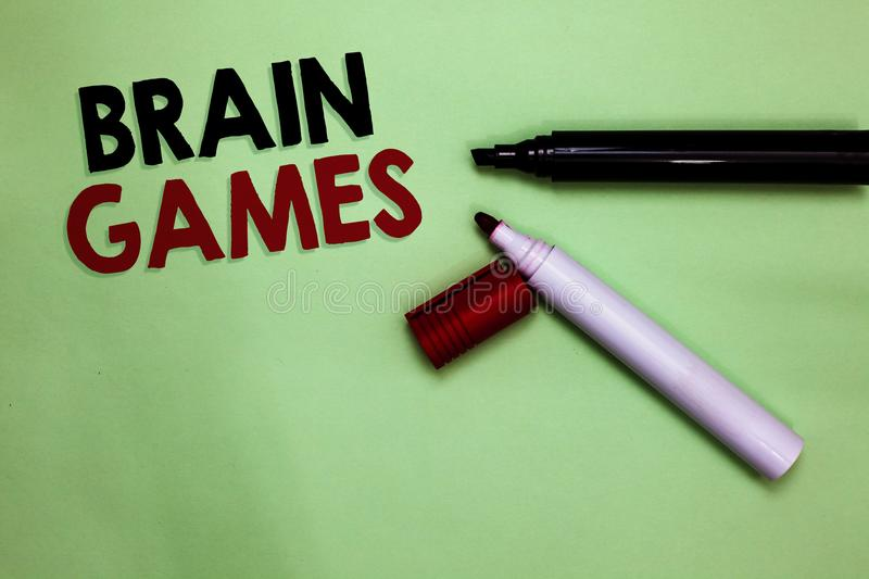 Text sign showing Brain Games. Conceptual photo psychological tactic to manipulate or intimidate with opponent Open markers Inspir. Ation communicating ideas royalty free stock photo