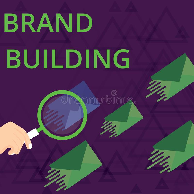 Text sign showing Brand Building. Conceptual photo Generating awareness Establishing and promoting company Magnifying. Text sign showing Brand Building. Business royalty free illustration
