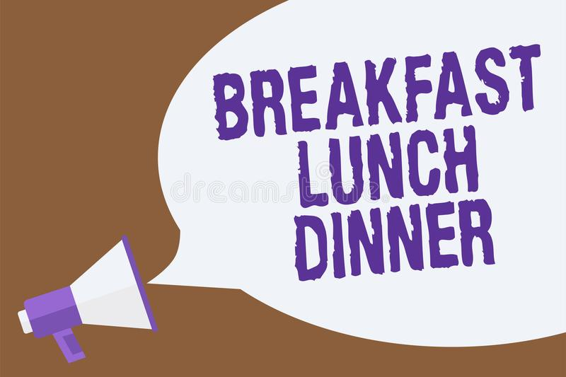 Text sign showing Breakfast Lunch Dinner. Conceptual photo eating your meals at different period of day Hot issue announcement att. Ention recall warning notice vector illustration