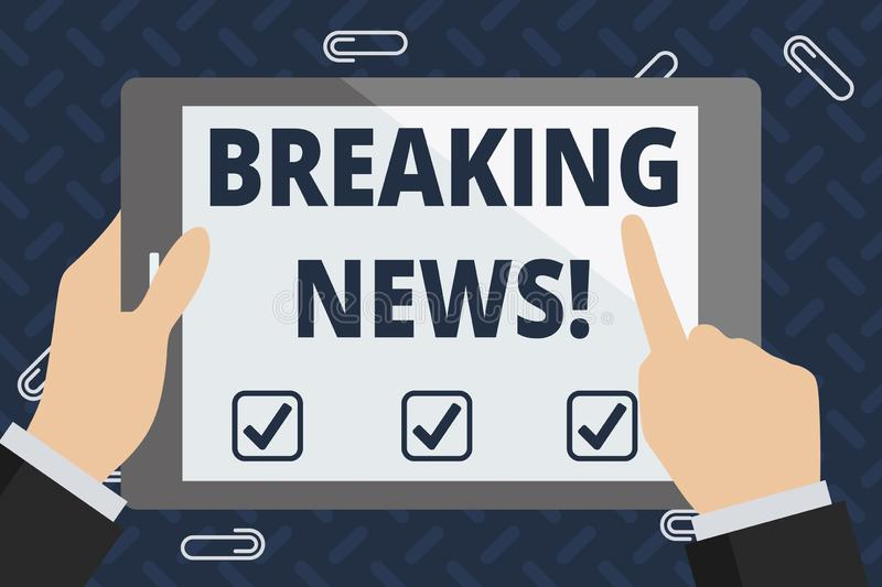 Text sign showing Breaking News. Conceptual photo Newly received info about an event and currently occurring Businessman. Text sign showing Breaking News royalty free illustration