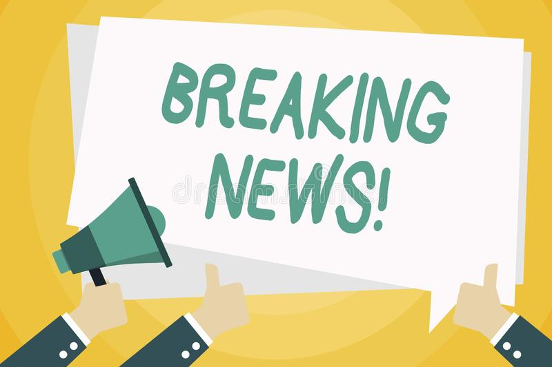 Text sign showing Breaking News. Conceptual photo Newly received info about an event and currently occurring Hand. Text sign showing Breaking News. Business vector illustration