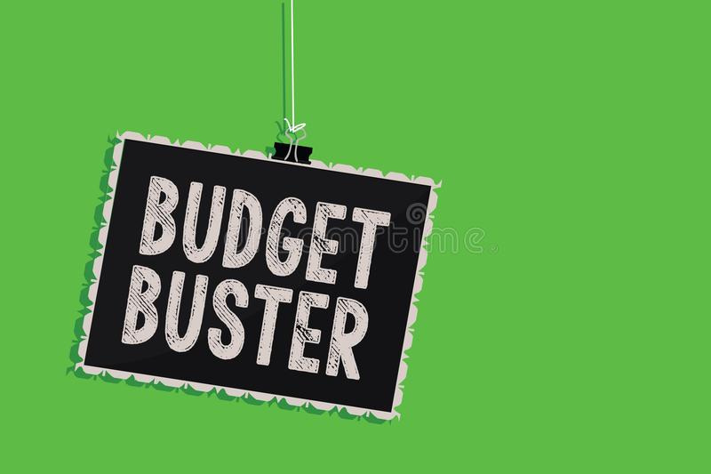 Text sign showing Budget Buster. Conceptual photo Carefree Spending Bargains Unnecessary Purchases Overspending Hanging blackboard. Message communication royalty free illustration