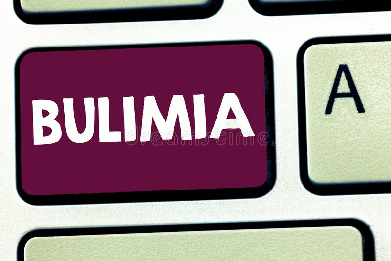 Text sign showing Bulimia. Conceptual photo Extreme obsession of getting overweight Emotional disorder.  royalty free stock images