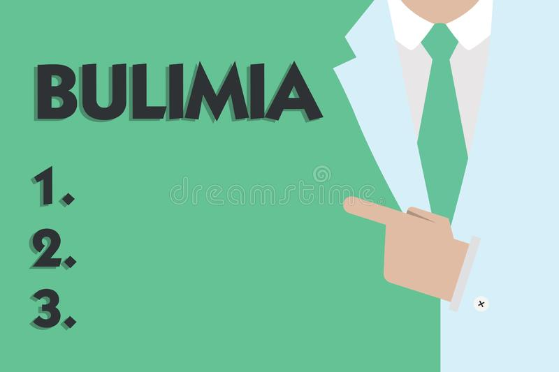 Text sign showing Bulimia. Conceptual photo Extreme obsession of getting overweight Emotional disorder.  stock illustration