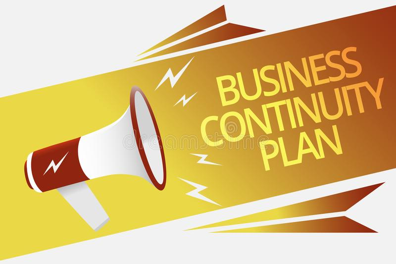 Text sign showing Business Continuity Plan. Conceptual photo creating systems prevention deal potential threats Megaphone loudspea. Ker speech bubble important vector illustration
