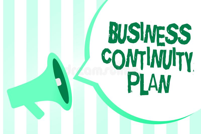 Text sign showing Business Continuity Plan. Conceptual photo creating systems prevention deal potential threats. Megaphone loudspeaker green stripes important vector illustration