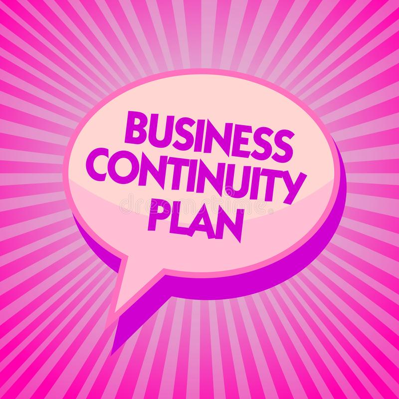 Text sign showing Business Continuity Plan. Conceptual photo creating systems prevention deal potential threats Purple speech bubb. Le message reminder rays vector illustration