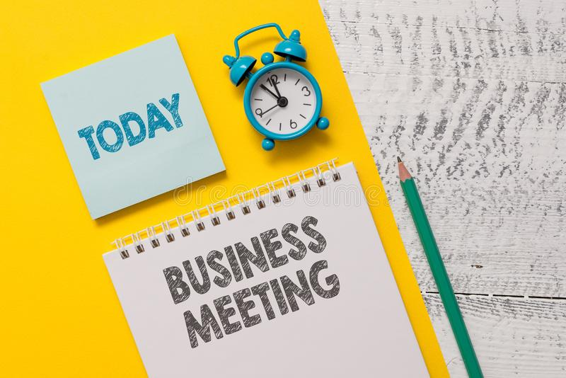 Text sign showing Business Meeting. Conceptual photo used discuss issues that cannot be addressed in simple way Spiral. Text sign showing Business Meeting royalty free stock photo