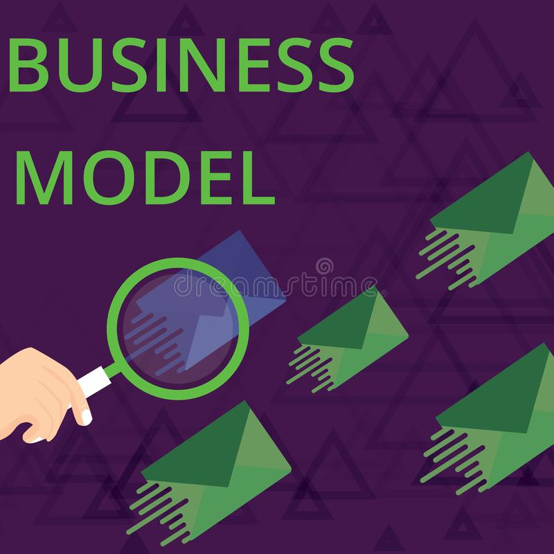 Text sign showing Business Model. Conceptual photo Identifying revenue sources Plan on how to make profit Magnifying. Text sign showing Business Model. Business royalty free illustration