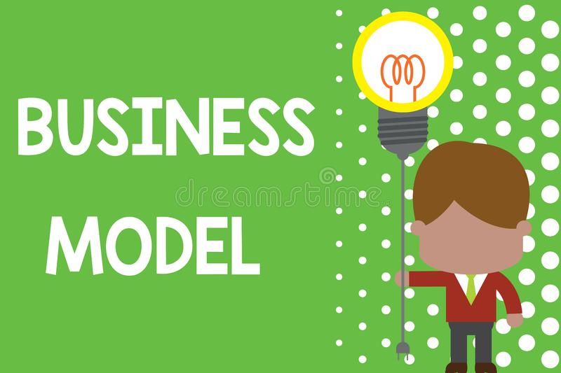Text sign showing Business Model. Conceptual photo Identifying revenue sources Plan on how to make profit Standing man. Text sign showing Business Model royalty free illustration
