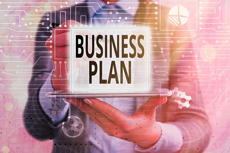 Text sign showing Business Plan. Conceptual photo Structural Strategy Goals and Objectives Financial Projections stock photography