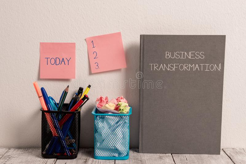 Text sign showing Business Transformation. Conceptual photo Align their Trade models with Strategy Improvement Stick Pad. Text sign showing Business stock photos