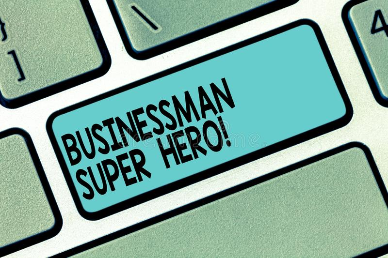 Text sign showing Businessanalysis Super Hero. Conceptual photo assumes the risk of a business or enterprise Keyboard. Key Intention to create computer message stock photos