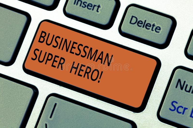 Text sign showing Businessanalysis Super Hero. Conceptual photo assumes the risk of a business or enterprise Keyboard. Key Intention to create computer message royalty free stock images