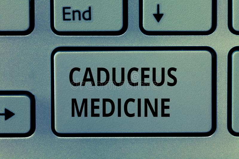 Text sign showing Caduceus Medicine. Conceptual photo symbol used in medicine instead of the Rod of Asclepius.  stock photo