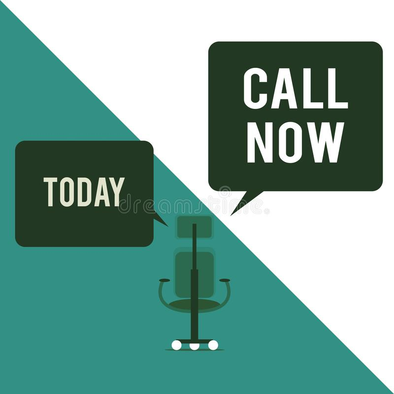 Text sign showing Call Now. Conceptual photo To immediately contact a demonstrating using telecom devices with accuracy vector illustration