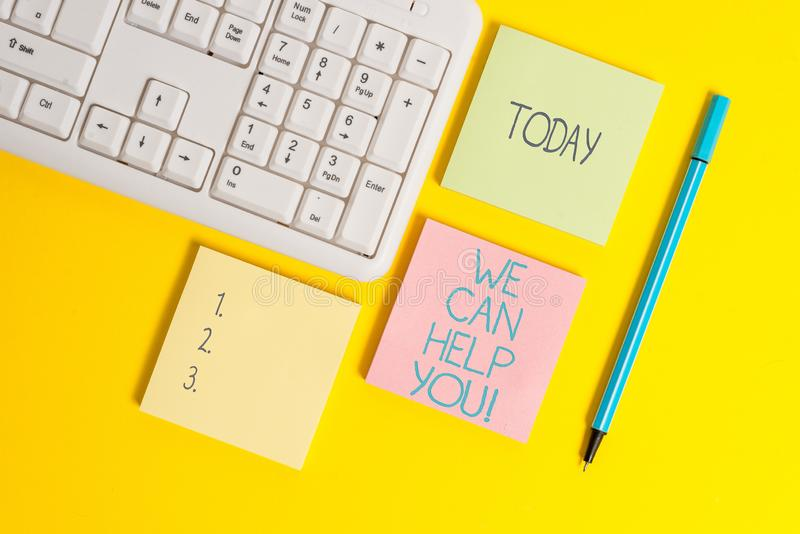 Text sign showing We Can Help You. Conceptual photo offering good assistance to customers or friends Empty papers with. Text sign showing We Can Help You royalty free stock images