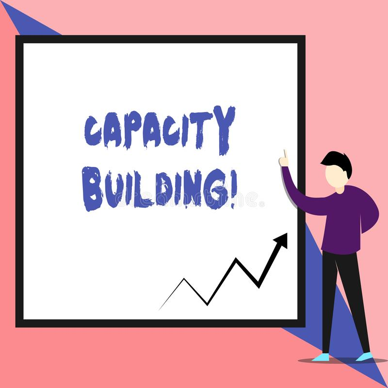 Text sign showing Capacity Building. Conceptual photo Strengthen the abilities of individuals Workforce planning View. Text sign showing Capacity Building stock illustration