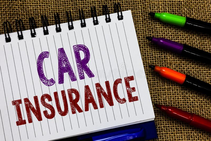 Text sign showing Car Insurance. Conceptual photo Accidents coverage Comprehensive Policy Motor Vehicle Guaranty Open. Spiral notebook page jute background royalty free stock image