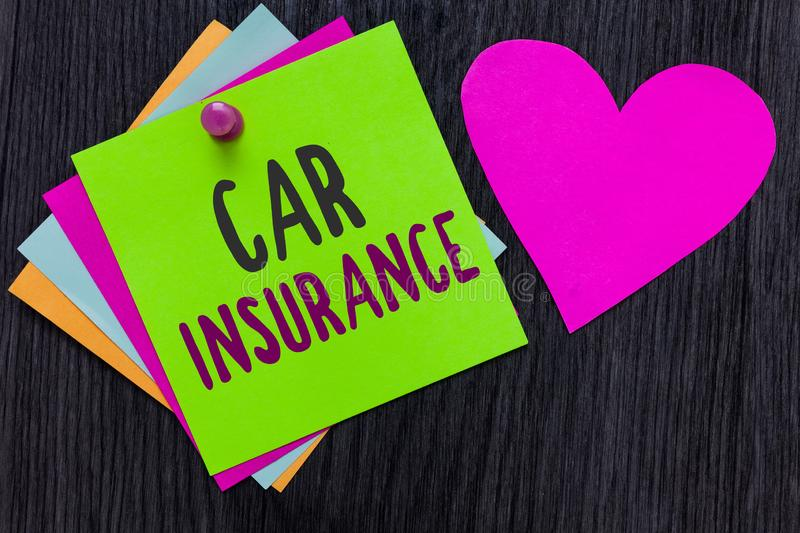 Text sign showing Car Insurance. Conceptual photo Accidents coverage Comprehensive Policy Motor Vehicle Guaranty Papers Romantic l. Ovely message Heart Good royalty free stock image