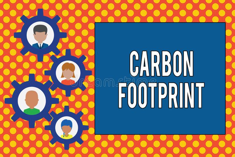 Text sign showing Carbon Footprint. Conceptual photo amount of dioxide released atmosphere result of activities royalty free illustration