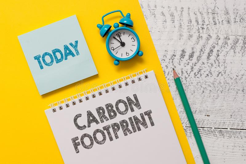 Text sign showing Carbon Footprint. Conceptual photo amount of dioxide released atmosphere result of activities Spiral. Text sign showing Carbon Footprint stock image
