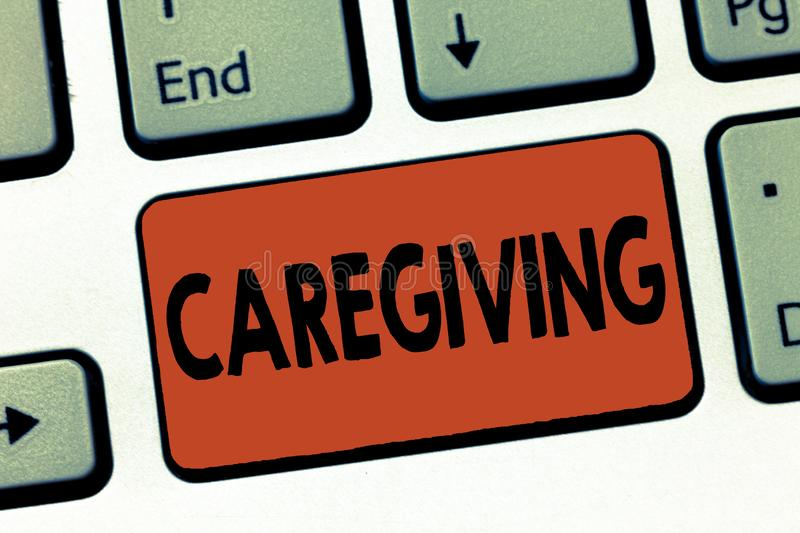 Text sign showing Caregiving. Conceptual photo Act of providing unpaid assistance help aid support Senior care stock photography